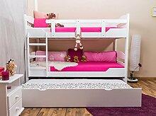 Stockbett mit Bettkasten Easy Möbel K13/h inkl. Liegeplatz und 2 Abdeckblenden, Kopf- und Fußteil gerundet, Buche Vollholz massiv Weiß - Maße: 90 x 200 cm, teilbar