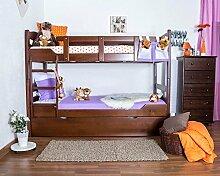 Stockbett mit Bettkasten Easy Möbel K3/h inkl. Liegeplatz und 2 Abdeckblenden, 90 x 200 cm Buche Vollholz massiv Dunkelbraun, teilbar