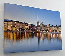 Stockholm City Leinwand Canvas Bild Wandbild
