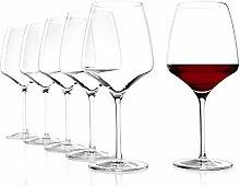 Stölzle Lausitz Burgunder Exquisit Rotweingläser, 650ml, 6er Set Weinglas, spülmaschinenfest, hochwertige Rotweinkelche aus edlem Glas