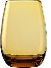 Stölzle Lausitz Elements Becher in bernstein, 465 ml, 6er Set Gläser, spülmaschinenfest, bunte Trinkbecher, hochwertige Qualitä
