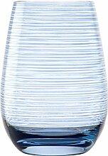 Stölzle Lausitz Twister Becher in blaugrau, 465 ml, 6er Set Gläser, spülmaschinenfest, bunte Trinkbecher, hochwertige Qualitä