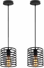 Stoex - Oval Metall Pendellampe Industrie Schwarz