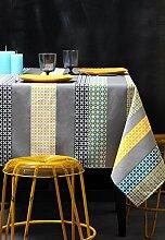 Stof–Tischdecke Seelvy, beschichtet–100 % Baumwolle, Baumwolle, Turquoise gris, 155_x_250_cm