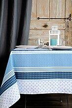 Stof–Tischdecke Soccoa, beschichtet –100% Baumwolle, blau, 155_x_250_cm