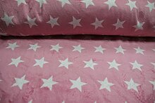 Stoff / 100cmx140cm / Kinder / beste Fleece-Qualität / Fleece (Wellness-) Sterne weiß auf rosa