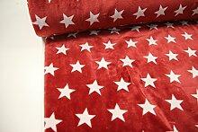 Stoff / 100cmx140cm / Kinder / beste Fleece-Qualität / Fleece (Wellness-) Sterne weiß auf dunkelro