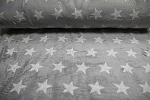 Stoff / 100cmx140cm / Kinder / beste Fleece-Qualität / Fleece (Wellness-) Sterne weiß auf hellgrau