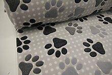 Stoff / 100cmx140cm / Kinder / beste Fleece-Qualität / Fleece (Wellness-) Pfoten, Punkte auf hellgrau