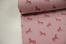 Stoff / 100cmx140cm / Kinder / beste Fleece-Sweat-Qualität / Alpenfleece (Sweat/Fleece) Einhörner altrosa auf rosa