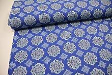Stoff / 100cmx140cm / Kinder / beste Jersey-Qualität / Jersey Ornamente türkis auf blau
