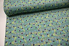 Stoff / 100cmx140cm / Kinder / beste Jersey-Qualität / Jersey Ornamente grün, lila auf türkis