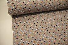Stoff / 100cmx140cm / Kinder / beste Softshell-Qualität / Softshell Dreiecke orange, türkis, dunkelblau auf grau