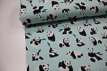 Stoff / 100cmx140cm / Kinder / beste Sweat-Qualität / Winter-Sweat Panda, Blätter auf min