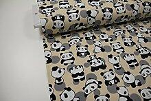 Stoff / 50cmx140cm / Kinder / beste Jersey-Qualität / Jersey Panda auf beige