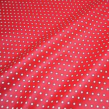 Stoff Baumwolle Acryl Punkte klein rot weiß