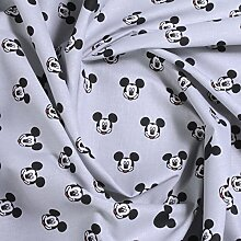 Stoff Baumwolle hellgrau Mickey Mouse Micky Mouse