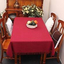 Stoff baumwolle leinen,home tischdecke,vintage tischdecke,volltonfarbe moderne landschaft american style american style edge teetisch sauber längliche tischdecke.mehrere farben.red-Rot 120x170cm(47x67inch)