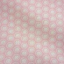 Stoff Baumwolle Meterware Moony Kreise retro rosa weiß aus Frankreich