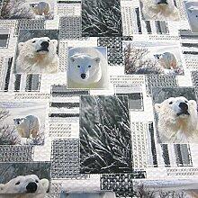 Stoff Baumwollstoff Fotodruck Eisbär Bär weiß grau Digitaldruck Patchwork