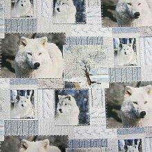 Stoff Baumwollstoff Fotodruck Wolf weiß grau Digitaldruck Patchwork