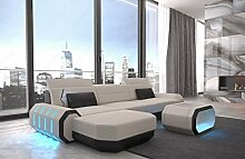 Stoff Couch Stoffsofa Polstersofa Roma L-Form Leder Stoff Mix mit LED Beleuchtung