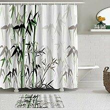 Stoff Duschvorhang und Matten Set,Bambus Aquarell