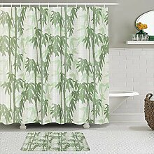 Stoff Duschvorhang und Matten Set,Bambus Bedruckte