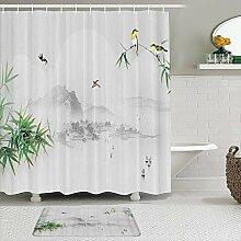 Stoff Duschvorhang und Matten Set,Bambus Chinese