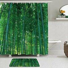 Stoff Duschvorhang und Matten Set,Bambus Dschungel