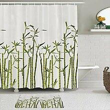 Stoff Duschvorhang und Matten Set,Bambus Foto