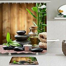 Stoff Duschvorhang und Matten Set,Bambus Garten