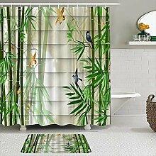 Stoff Duschvorhang und Matten Set,Bambus im