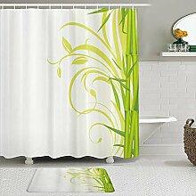 Stoff Duschvorhang und Matten Set,Bambus mit