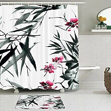 Stoff Duschvorhang und Matten Set,Bambus Rosa