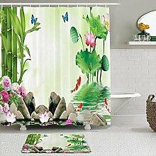Stoff Duschvorhang und Matten Set,Bambus