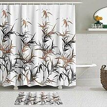Stoff Duschvorhang und Matten Set,Bambus Schwarz