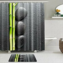 Stoff Duschvorhang und Matten Set,Bambus und