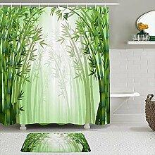 Stoff Duschvorhang und Matten Set,Bambus Wald