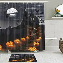 Stoff Duschvorhang und Matten Set,Halloween-Thema