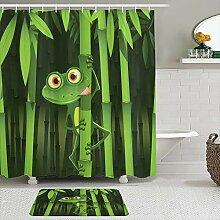 Stoff Duschvorhang und Matten Set,Tierischer