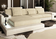 Stoff + Leder Sofa Couch HAMBURG III L Form -