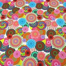 Stoff Meterware Baumwolle Digitaldruck Mandala groß bun