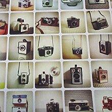 Stoff Meterware Baumwolle Kamera Fotoapparat retro Nostalgie 70er Jahre Dekostoff Fotodruck Fotograf Fotoatelier