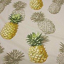 Stoff Meterware Baumwolle natur Ananas groß Deko Kleiderstoff Kissen Tischdecke