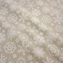 Stoff Meterware Baumwolle natur weiß Eiskristall Weihnachtsstoff Schneeflocken