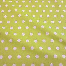 Stoff Meterware Baumwolle Punkte limette weiß hellgrün Tischdecke abwaschbar