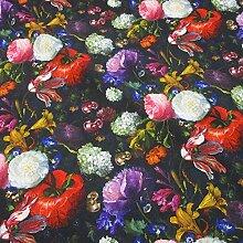 Stoff Meterware Baumwolle schwarz bunt Blumen alte Meister Blüten Digitaldruck Fotodruck