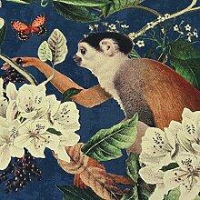 Stoff Meterware Baumwolle Tiere bunt Kakadu Affe Dschungel Dekostoff Digitaldruck Fotodruck
