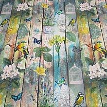 Stoff Meterware Baumwolle Vogel Blumen Shabby Holzwand Fotodruck Digitaldruck